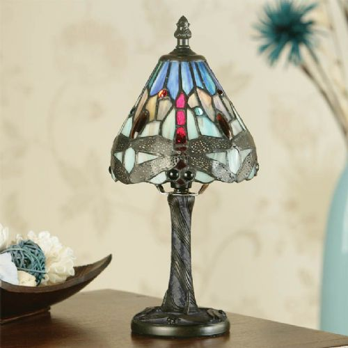 Dragonfly Blue Mini Lamp (Arts & Crafts, Traditional, Mini Lamps) TMIN10 (Tiffany style)